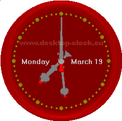 Big Ben clock hands view with day month and year-long format